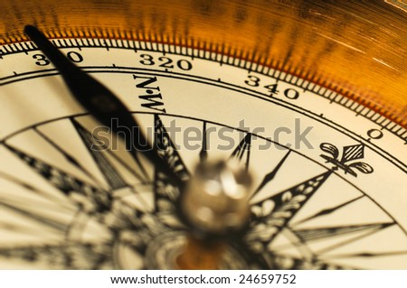 Close-up view of the vintage compass. - stock photo