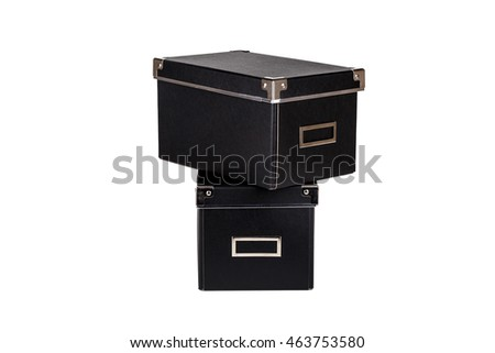 Close up view of two black cardboard box isolated on white background.