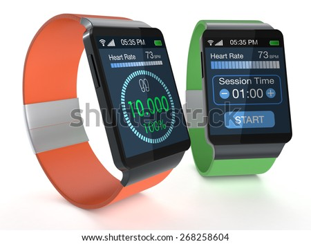 close-up view of two smartwatches with fitness apps on white background (3d render) - stock photo