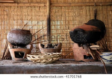Close up view of vietnamese kitchen in the countryside