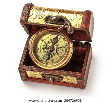 Close up view of vintage compass in box - stock photo