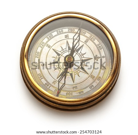 Close up view of vintage compass on white - stock photo