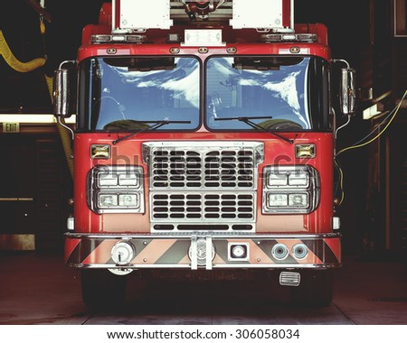 Close-up view of vintage fire truck, shallow DOF - stock photo