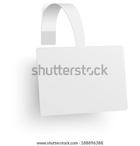 Close up view of white square paper advertising wobbler. Raster version illustration. - stock photo