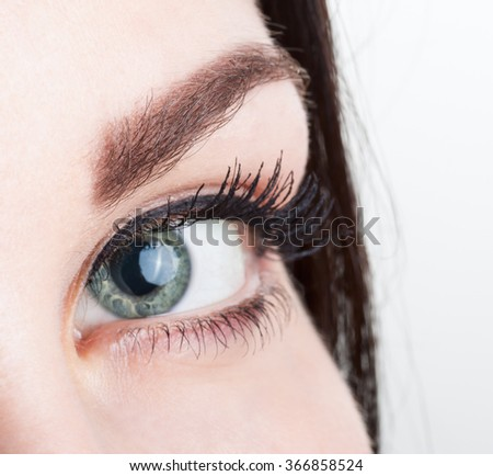 Close up view of woman eye isolated on a white background - stock photo