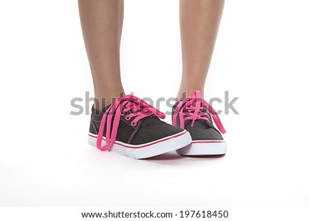 close-up View of young women  wearing new shoes - stock photo