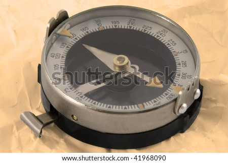 Close up view oft the old compass - stock photo