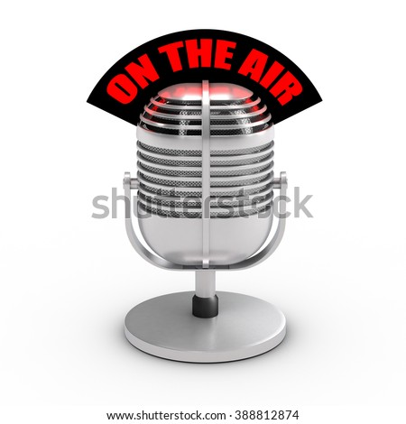 Close-up view on a vintage microphone with ON THE AIR enlighted - stock photo