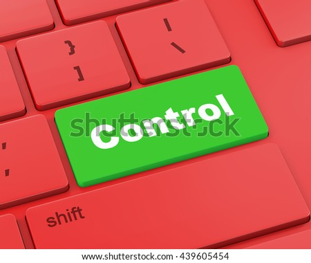 Close up view on conceptual keyboard - Control, 3d rendering