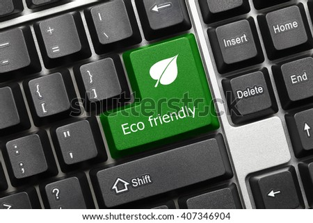 Close-up view on conceptual keyboard - Eco friendly (green key with leaf symbol) - stock photo