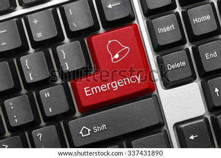 Close-up view on conceptual keyboard - Emergency (red key) - stock photo