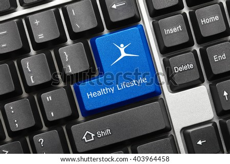 Close-up view on conceptual keyboard - Healthy Lifestyle (blue key with fitness symbol) - stock photo
