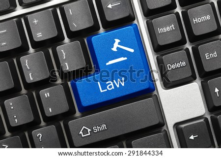 Close-up view on conceptual keyboard - Law (blue key with gavel symbol) - stock photo