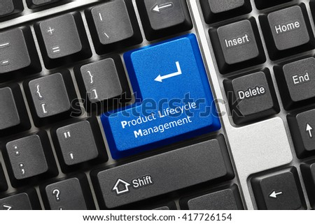 Close-up view on conceptual keyboard - Product Lifecycle Management (blue key) - stock photo