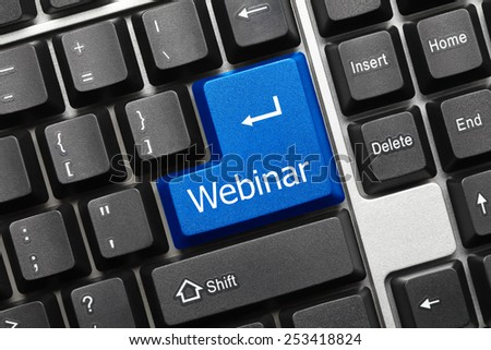 Close-up view on conceptual keyboard - Webinar (blue key) - stock photo