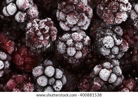 Close up view on frozen Blackberry fruits, food background - stock photo