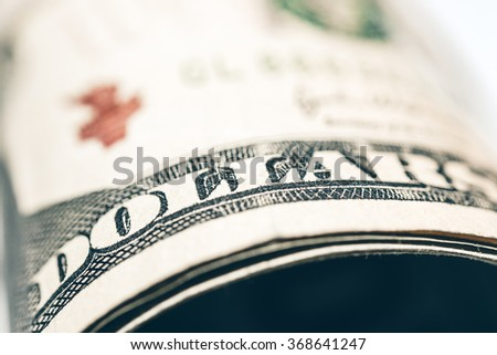 Close-up view on US dollars.