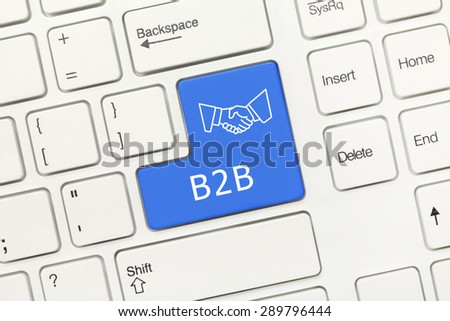 Close-up view on white conceptual keyboard - B2B (blue key) - stock photo