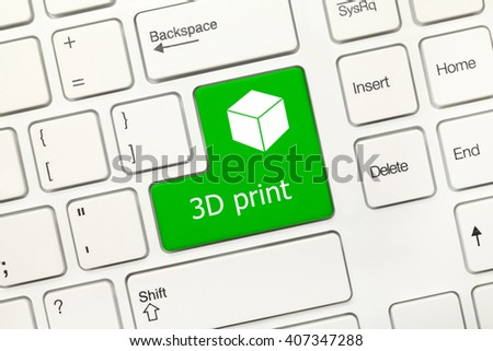Close-up view on white conceptual keyboard - 3D print (green key with cube symbol) - stock photo
