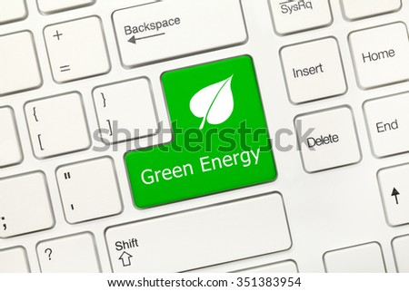 Close-up view on white conceptual keyboard - Green Energy (key with leaf symbol) - stock photo
