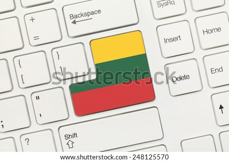 Close-up view on white conceptual keyboard - Lithuania (key with flag)