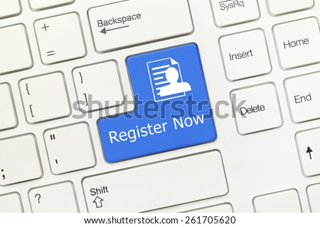 Close-up view on white conceptual keyboard - Register Now (blue key) - stock photo
