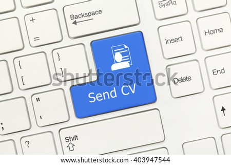 Close-up view on white conceptual keyboard - Send CV (blue key)