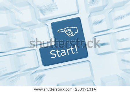 Close-up view on white conceptual keyboard - Start (blue toned). Zoom effect - stock photo