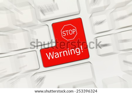Close-up view on white conceptual keyboard - Warning (red key with stop sign). Zoom effect