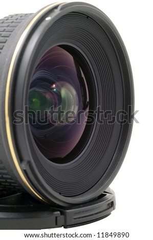Close-up view to modern wide angle lens