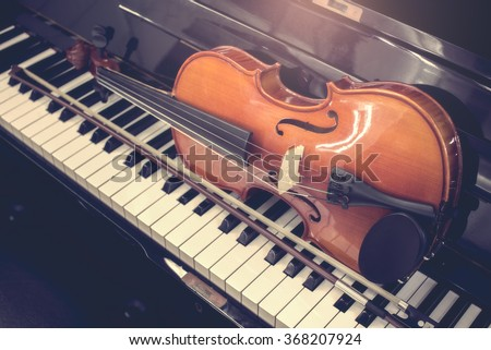 close up Violin and piano,retro tone - stock photo
