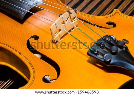 Close Up Violin Detail On Diagonal Background