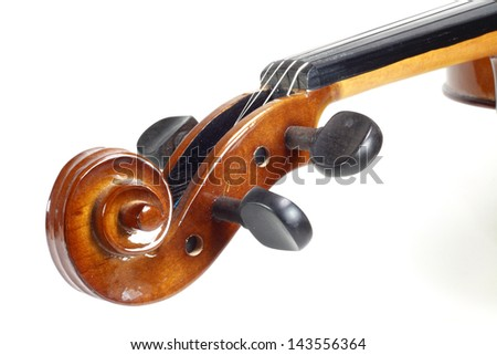 Close-up violin head on white background