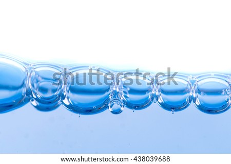 Close up water bubbles on white background.