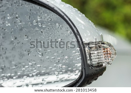 Close up water drop on body of car