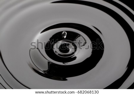 close up water droplet affect the surface forming rings on the surface and making a