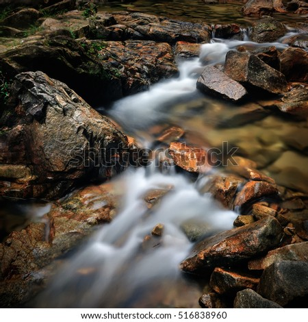 close up Waterfall, mountain river and forest stream, ( slow shutter speed )