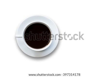 Close up white coffee cup isolated on white background