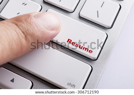 Close up white keyboard button conceptual-resume