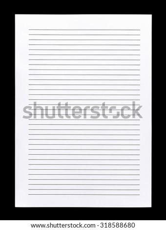 Close Up White Lined Paper Isolated On Black Background  Printing On Lined Paper