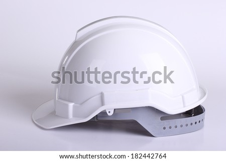 Close up White safety hat with white background - stock photo