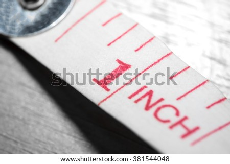 Close up white tape measuring