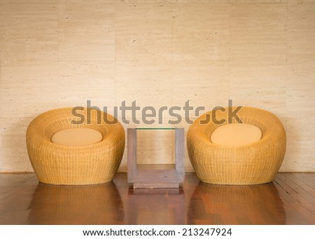 close up wicker chair decorative luxury modern in living room - stock photo