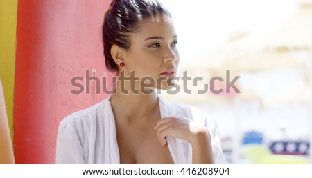 Close up with copy space of pretty woman - stock photo