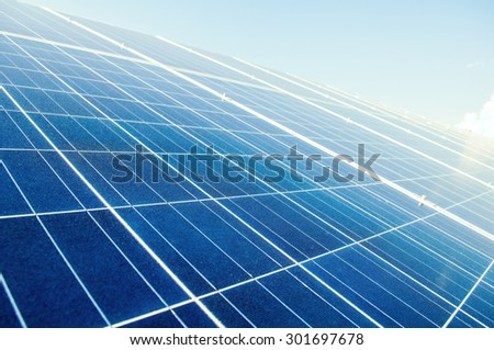 Close up with solar power silicon panels. Photovoltaic system. - stock photo