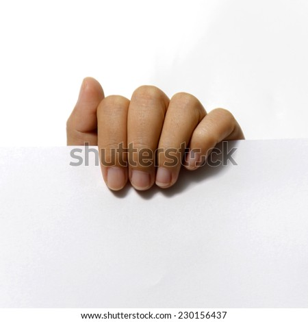 close up woman hand holding paper on white background