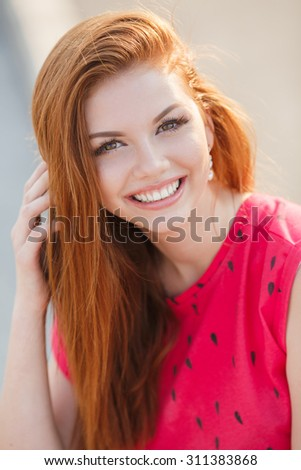 close up woman portrait outdoor. redhair girl.. Beautiful young woman close-up in summer - stock photo