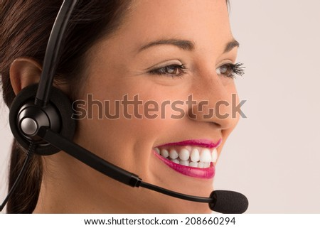 Close up  woman with headset laughing .Call center customer service - stock photo
