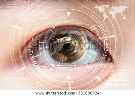 Close up women brown eye scanning technology in the futuristic, operation, lasik, cataract. - stock photo