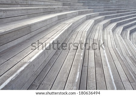 close - up Wood Plank Stair Steps - stock photo